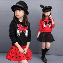 Комплекты одежды для девочек с вышивкой Микки и Минни Маус, комплекты одежды для девочек г. Топ с героями мультфильмов+ юбка костюм из 2 предметов комплект одежды для детей
