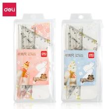 Deli 79519 soft sleeve ruler  3pcs/set Kawaii Cartoon Straight Triangle Ruler Protractor Drafting Drawing School Office Supplies