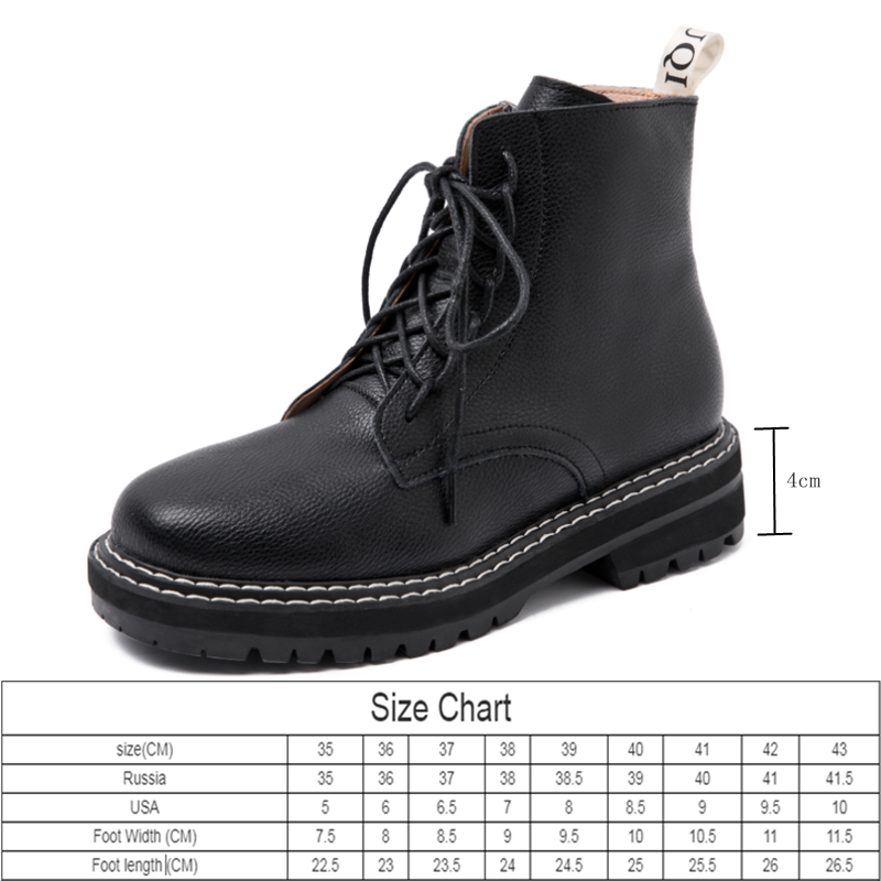 AIYUQI Boots Female women shoes Ankle 2020 Autumn British Wind Genuine Leather Thick With Short Boots Motorcycle Martin shoes 3