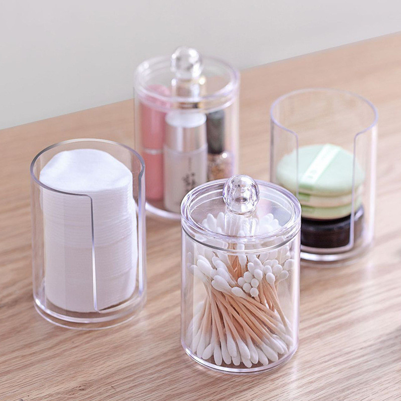 Acrylic Multifunctional Round Qtip Container Cosmetic Makeup Cotton Pad Organizer Jewelry Storage Box Holder and Candy Jars|Storage Boxes & Bins| |  - title=