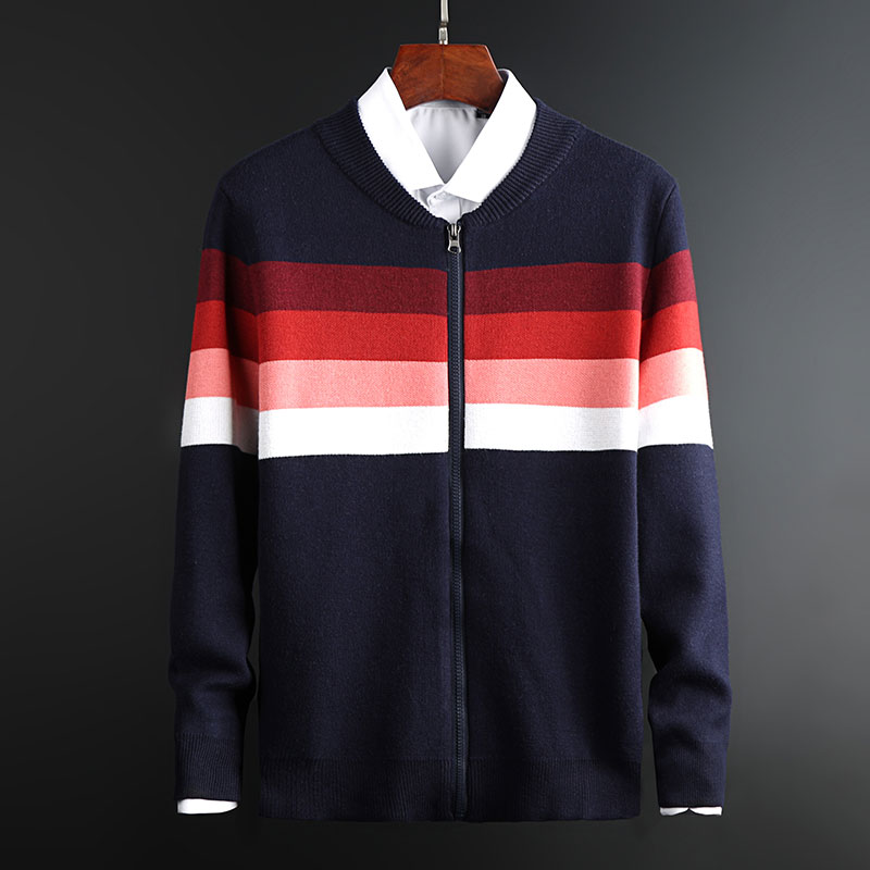 2020 New Fashion Brand Sweaters Mens Cardigan Striped Coat Slim Fit Jumpers Knitred Autumn Korean Style Casual Men Clothes