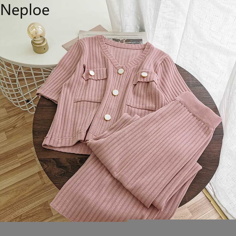 Neploe malha 2 peça roupas para as mulheres manga curta v pescoço botões malhas topos + alta wiast ampla perna calças camisola conjunto 4b359