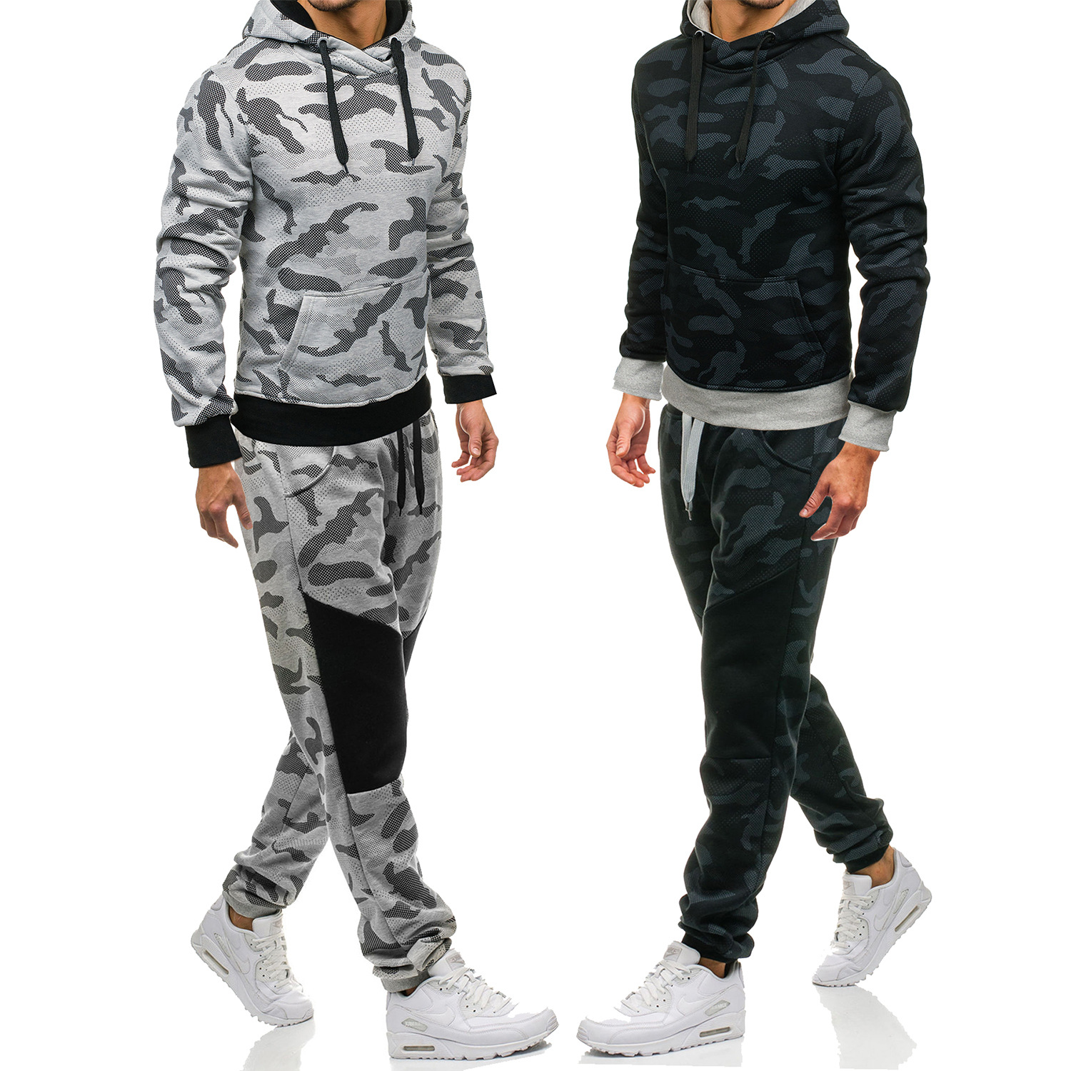 2018 Foreign Trade Men Fashion Camouflage Men's Sports Leisure Suit Youth Jogging Suits Men's Two-Piece Set Fashion