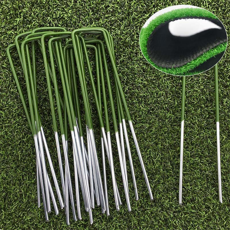 New Half Green Artificial Grass Turf U Pins Metal Pegs Staples Weed Plant Supports And Protective Equipment Convenient Practical