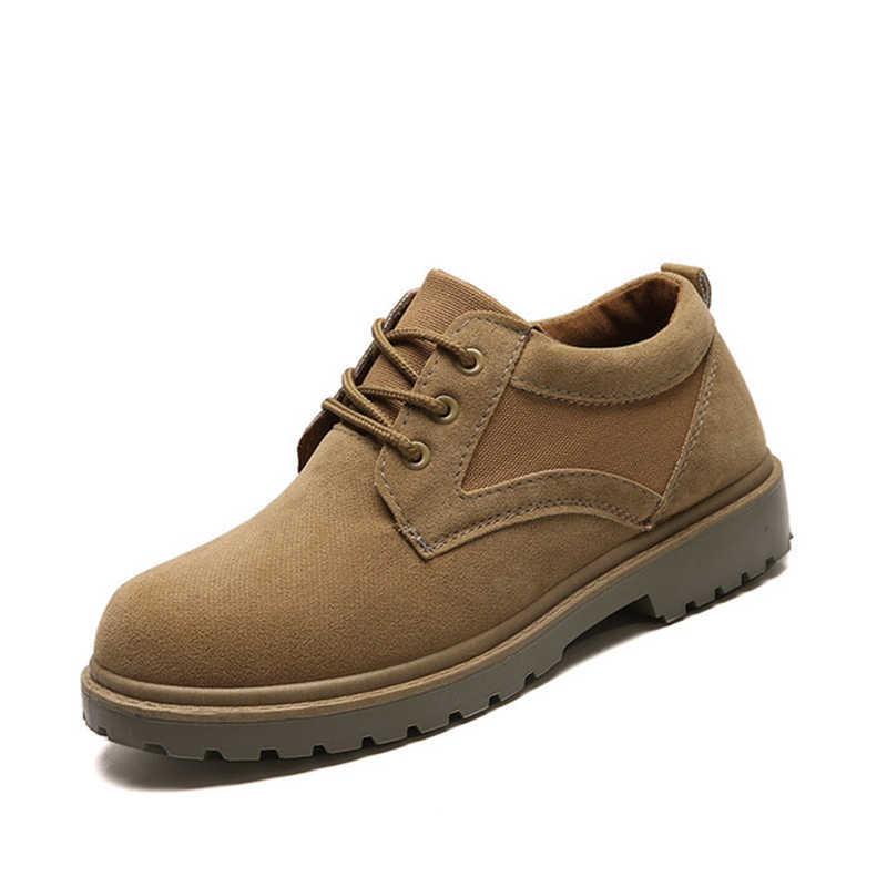 Litthing Kış Erkek Botları İş güvenliği botları Kauçuk Taban kaymaz Açık Nefes spor ayakkabılar yürüyüş ayakkabıları Yüksek Top Sneakers