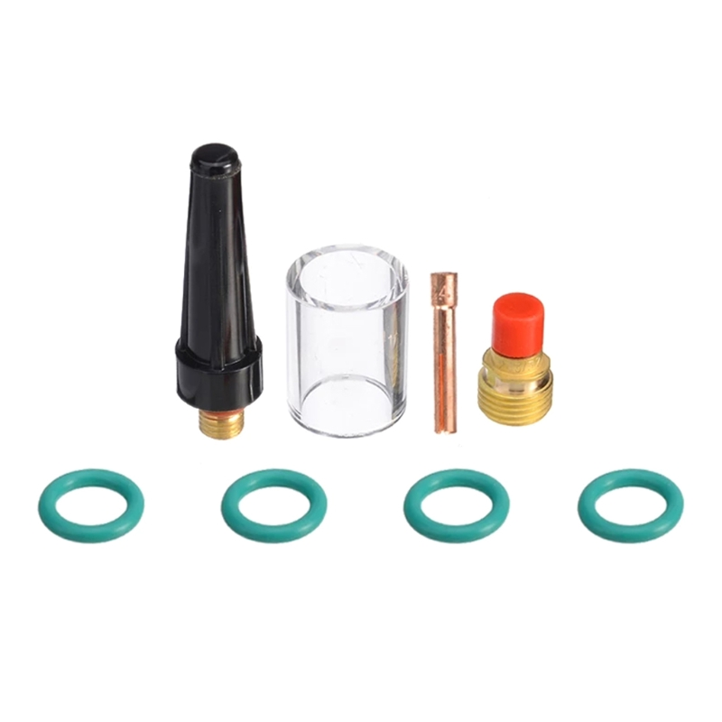 8Pcs/Set TIG Welding Torch Gas Lens Pyrex Cup Kit Durable Welding Accessories 2.4mm For WP-9/20/25 3/32