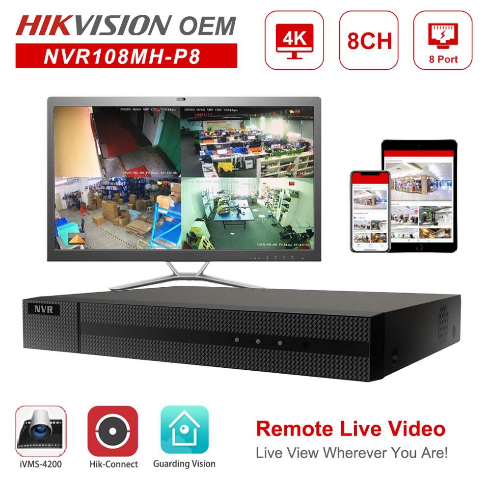 Hikvision oem poe nvr anpviz 4 k 8mp 8ch gravador de vídeo em rede 8 poe h.265 + hik-conectar gerenciamento de rede até 6 tb onvif
