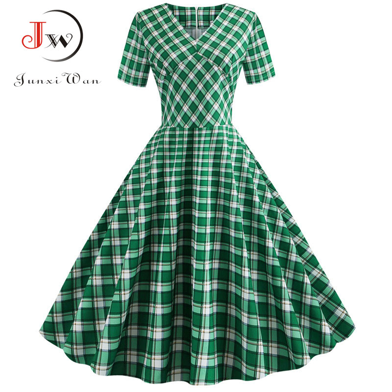 Plaid Print Short Sleeve Summer Vintage Dress Women 2019 Casual V Neck Elegant Slim Office Party Vestidos Robe Femme Plus Size