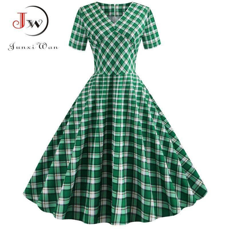 Plaid Print Short Sleeve Summer Vintage Dress Women 2019 Casual V Neck Elegant Slim Office Party Vestidos Robe Femme Plus Size