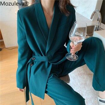 Mozuleva Γυναικείο σετ σακάκι παντελόνα κομψό vintage στύλ