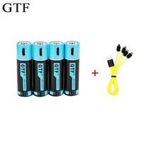 GTF 100% capacidade de 1.5 mAh 1500 V AA 2550mwh li polímero Bateria li ion com bateria de lítio recarregável USB usb + cabo USB|Baterias recarregáveis| |  -