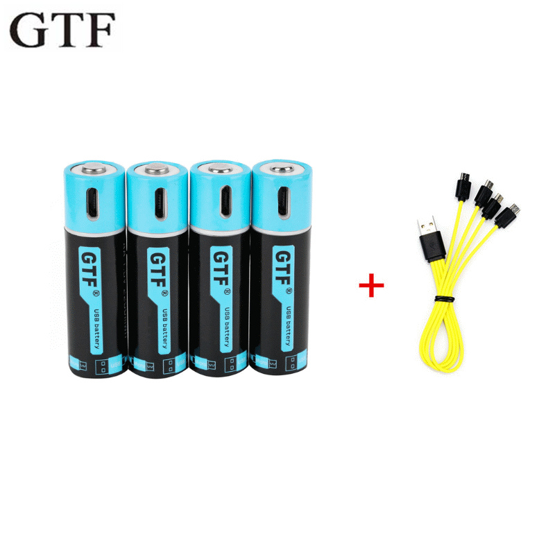 GTF 100% Capacity 1.5V 1500mAh AA Li-ion Battery 2550mwh Li-polymer With USB Rechargeable Lithium Usb Battery + USB Cable