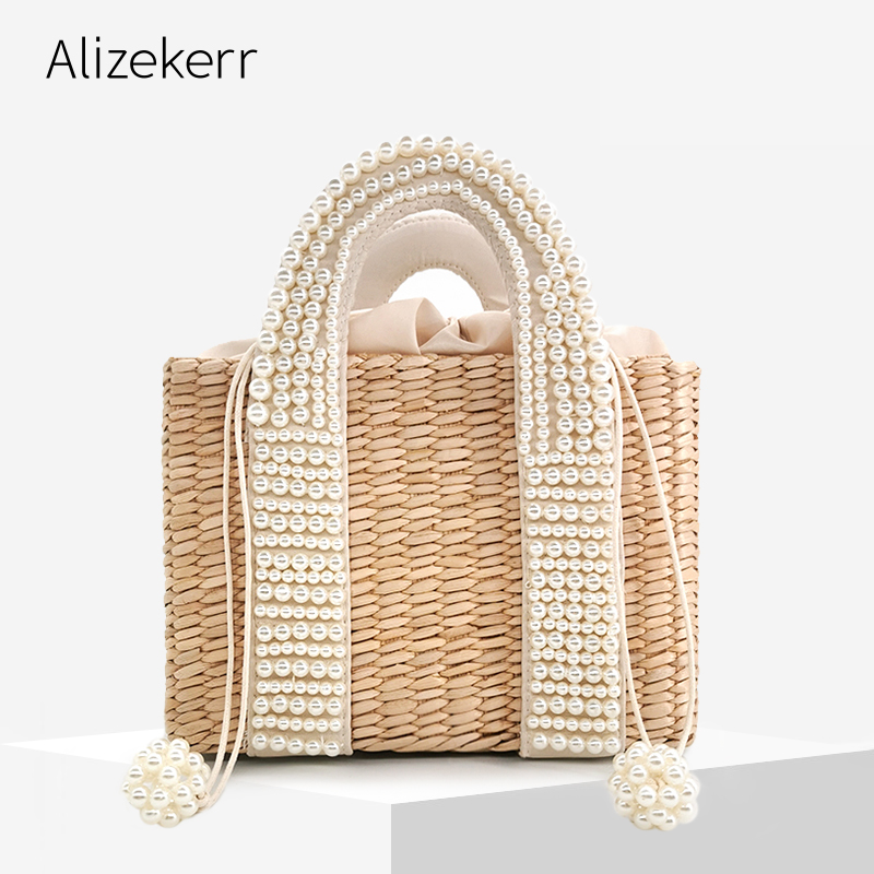 Pearls Beach Bag Women 2020 Summer New Elegant Woven Beaded Straw Bag Female Bohemia Knitted Large Tote Handbag Vacation Casual