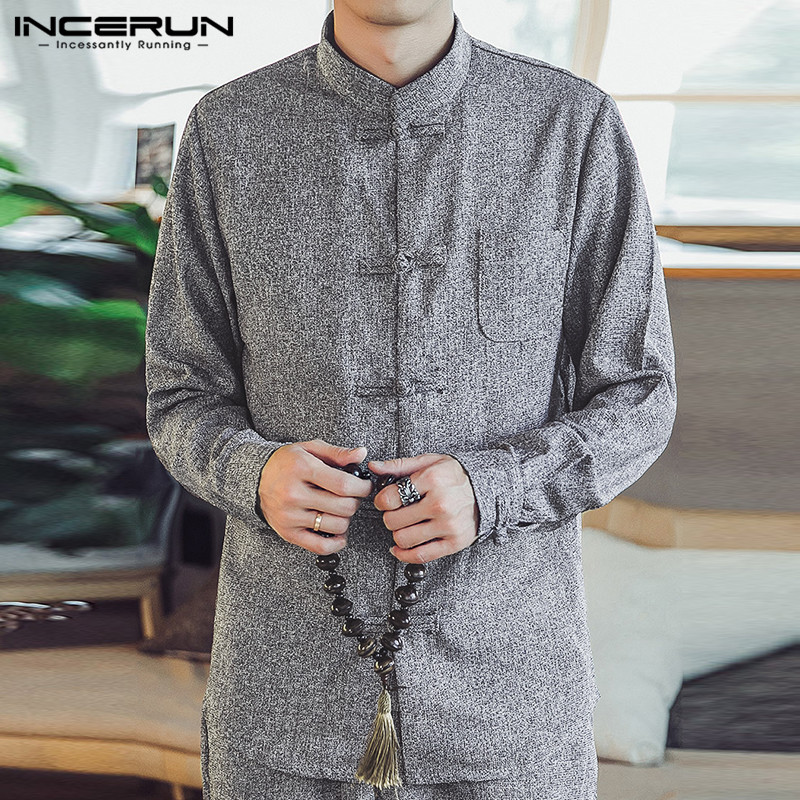 INCERUN Chinese Style Men Shirt Stand Collar Button Vintage Elegant Casual Shirts Men Long Sleeve Solid Camisa Streetwear S-5XL