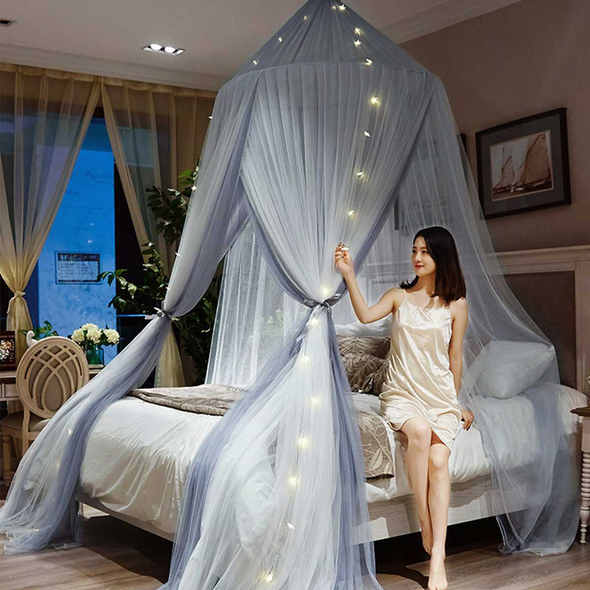 Fashion Princess Lace Mosquito Net Dome Insect Bed Canopy Netting Curtain Ceiling Dome Bedding Comfortable Sleep