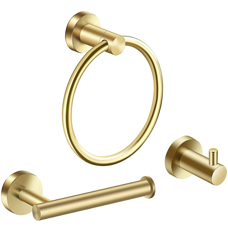 Bathroom Hardware Accessories Set 3-Piece Gold Brushed Bathroom Hardware Sets Modern Towel Ring Robe Hook Hanger Toilet Paper Ho