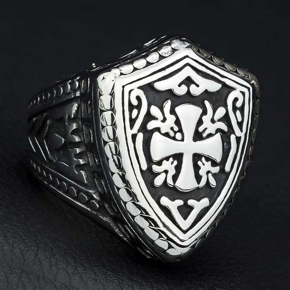 Ksatria Templar Cross Titanium Stainless Steel Pria Cincin Signet Seal Punk Rock Hip Hop Pria Biker Vintage Perhiasan DAR259