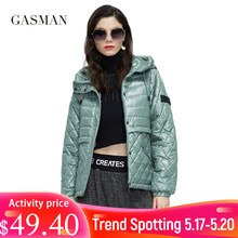 GASMAN 2021 Women's spring jacket fashion casual Short parka Thin Cotton hooded Coat women ladies jackets Warm outwear 21159