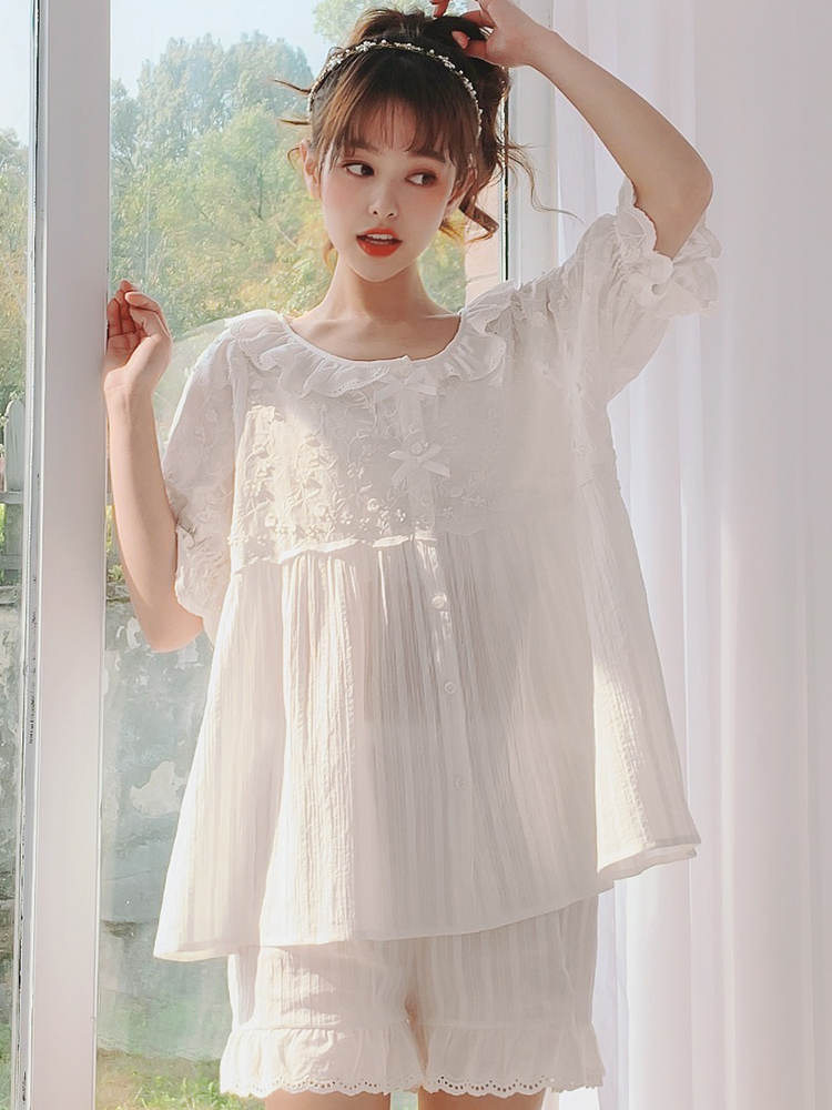 Pajamas for Women Pajamas Set Cotton Pijama Mujer Female Loose Sleepwear Suits Pyjamas Princess lace Lady Homewear nightwear