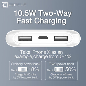 Image 3 - CAFELE 10000mah Power Bank LED Display Powerbank External Battery Dual USB Portable Charger Charging PoverBank for Huawei Xiaomi