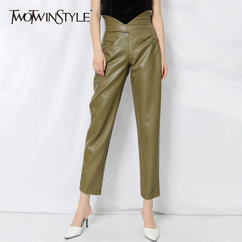TWOTWINSTYLE Casual Leather Pants For Women High Waist Minimalist Large Size Loose Female Fashion New Clothes 2020 Summer - discount item  39% OFF Pants & Capris