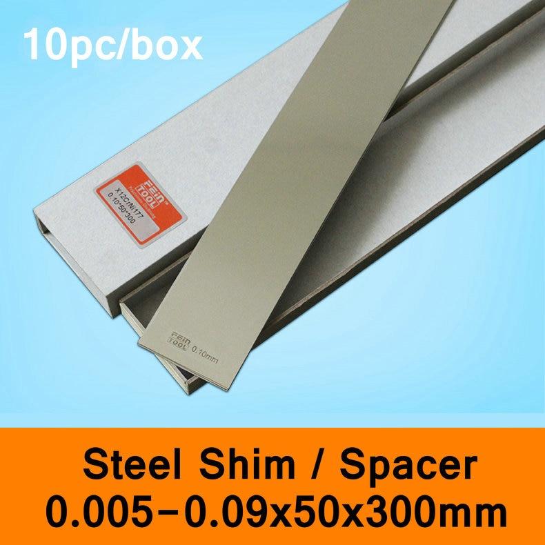 Stainless Steel Spacer Mold Mould Adjustable Gasket Shim Filler Feeler Leaf Thin Steel Sheet 10pcs Per Box 0.005-0.09mm 50x300mm