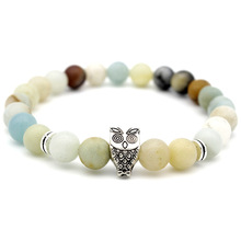 Cut Owl Multicolor Stone Bead Bracelets for Men Woman Charm Hand Jewelry gift DropShipping 8mm