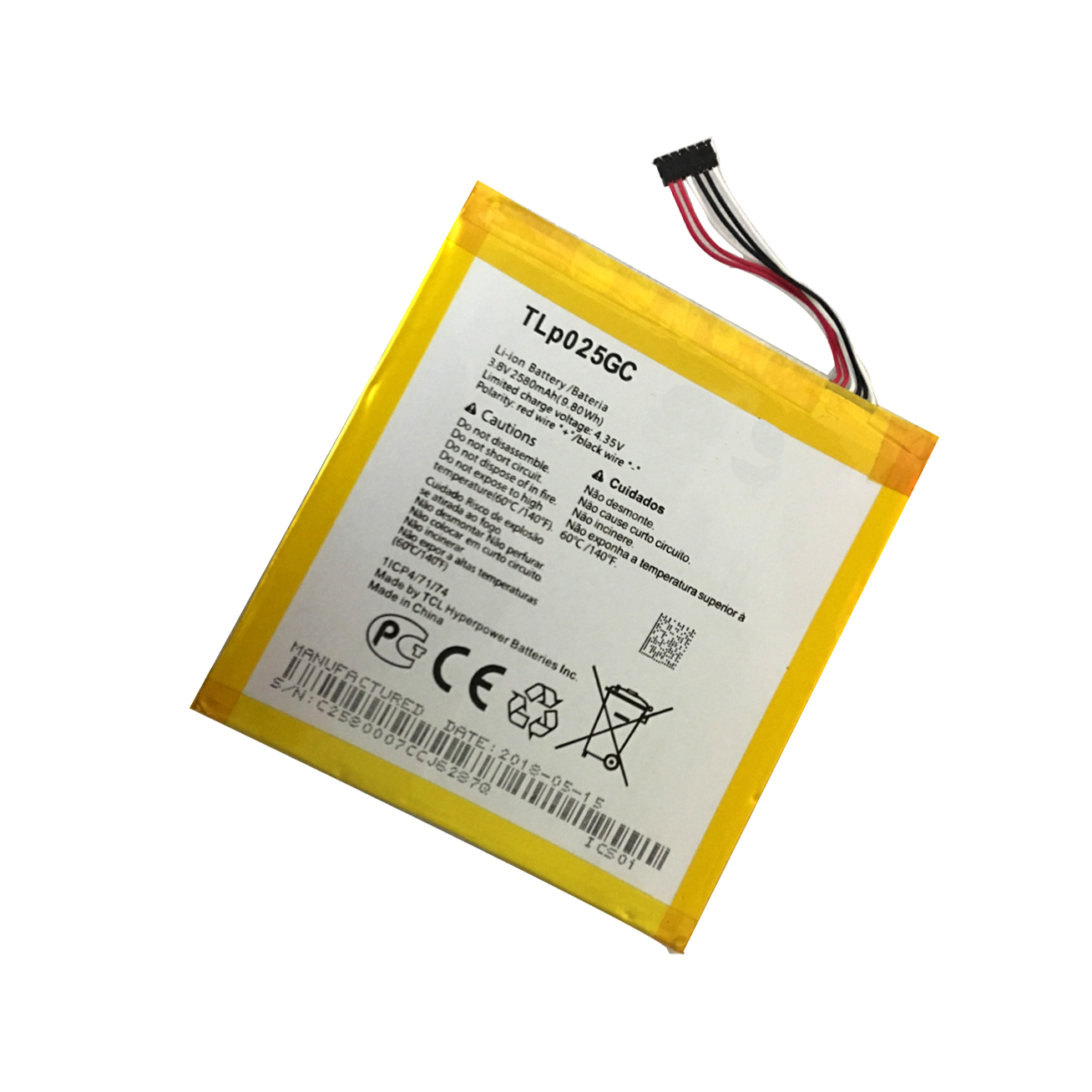 New High Quality TLP025GC 2580mAh Battery for Alcatel One Touch Pixi 4 (7) 3G 9003X 9003A Cell phone image