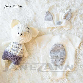 Jane Z Ann Newborn photography prop handmade baby photo 3-4 month 2 colors Studio shooting Costume Piggy set new clothes+doll - DISCOUNT ITEM  12% OFF All Category