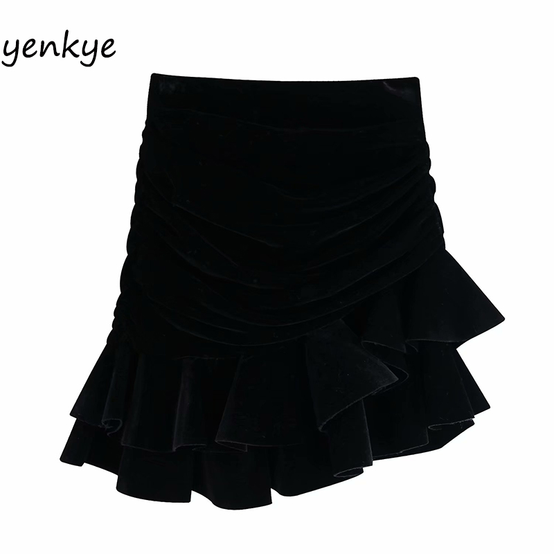 Vintage Black High Waist Ruffle Velvet Mini Skirt BBWM9799