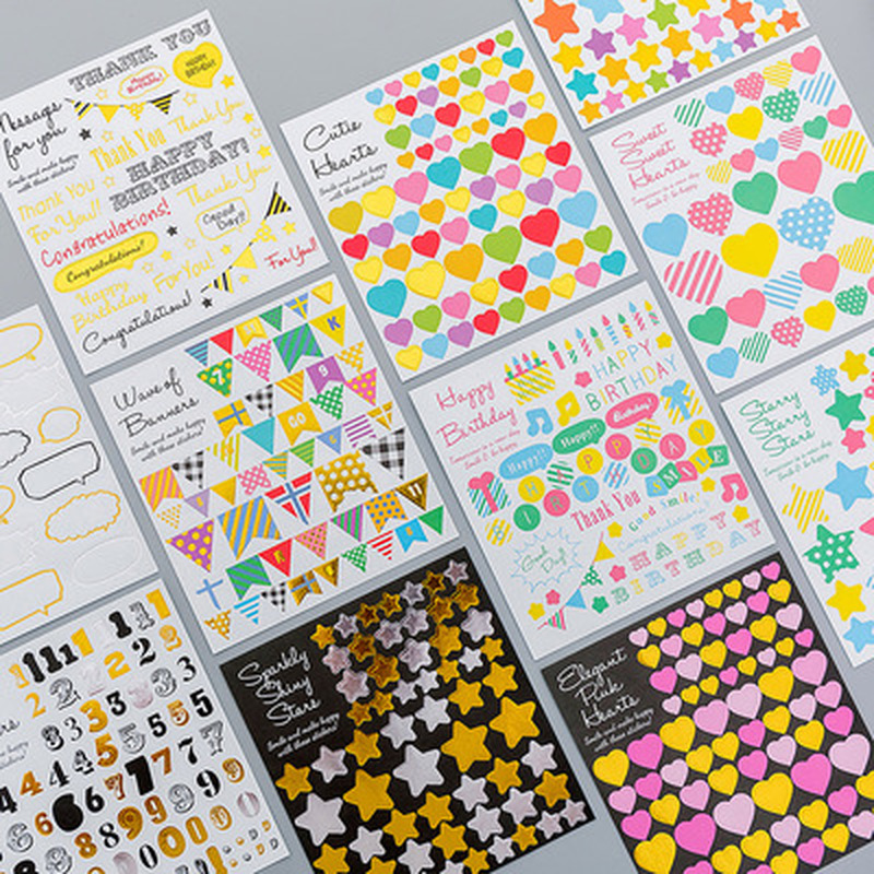 1pcs Love Sticker Children Cartoon Novelty Stationery Diary Stickers Student Cute Sticker Kawaii Korean Stickers School Supplies