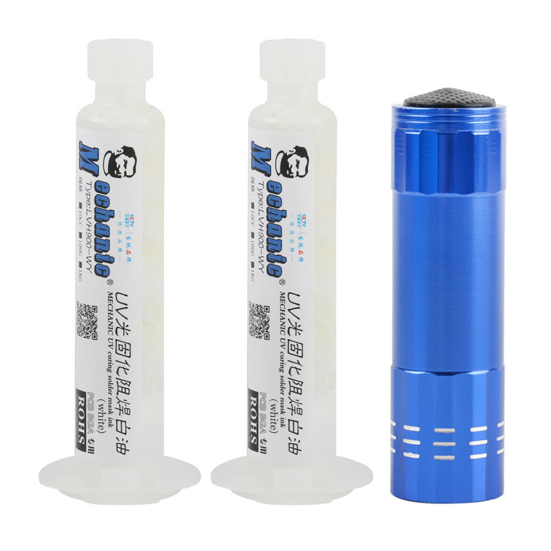2pcs/lot 10CC <font><b>UV</b></font> Light-curing Solder Mask White Oil Welding Paste for <font><b>PCB</b></font> Curcuit Board Protect Solder Flux Oil+<font><b>UV</b></font> <font><b>Lamp</b></font> image