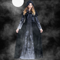 Women Halloween Cosplay Vintage Witch Long Sleeve Maxi Dress Floor Length Skeleton Party Dress Lace Up Costume Vestidos Mujer