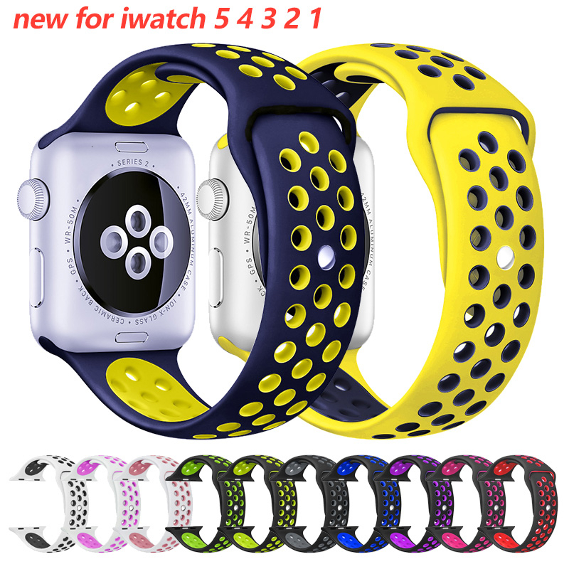 Soft Silicone Wristband For Apple Watch 42mm Band 44mm Breathable Iwatch Series 5 4 3 2 1 Replacement 42mm Watchband 38mm Strap