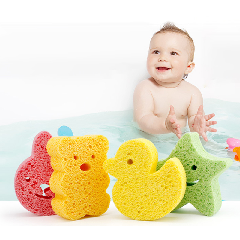 1Pc Baby Bath Shower Sponge Cute Animal Rubbing Body Bathing Supplies 4Colors Natural Wood Pulp Soft Cotton Bathroom Accessories