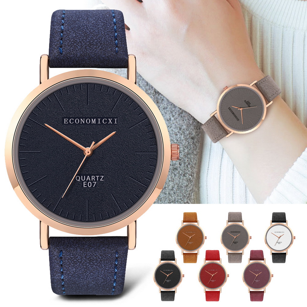 Electronic Watch Large Round Dial Leather Strap Wrist Watches Casual Watch Women TT@88
