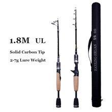Carbono telescópico ul vara de pesca pólo 1.8m 2g-7g ultraleve portátil viagens girando hastes de fundição com haste saco para truta pike