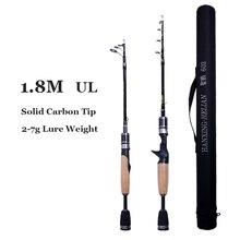 פחמן טלסקופי UL חכת דיג מוט 1.8m 2g 7g ultralight נייד נסיעות ספינינג ליהוק מוטות עם מוט תיק עבור פורל פייק