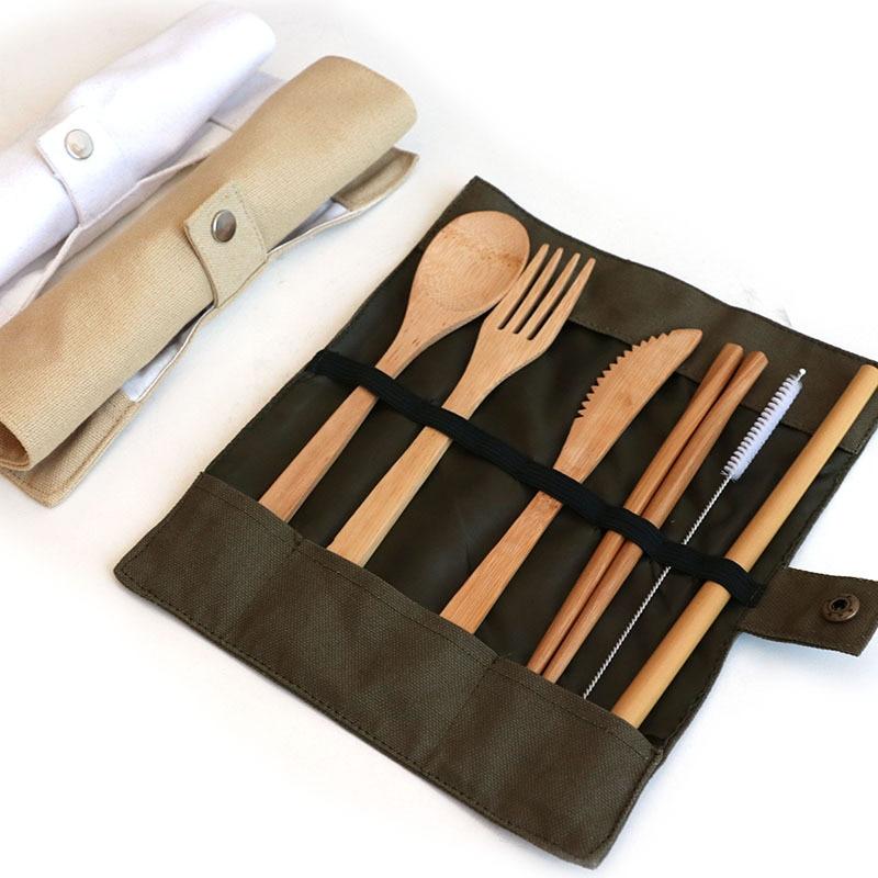 TUUTH 6 шт./компл. бамбуковые столовые приборы, набор соломенной посуды, экологичный дорожный портативный деревянный набор посуды, ложка Вилка палочки для еды|Столовые сервизы|   | АлиЭкспресс - Готовы к путешествиям