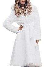 2019 Fur Coat Women Winter Jacket Fashion Solid Color Slim Long Plush Faux Hooded Warm Female Casual White Black