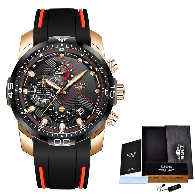 2020 LIGE Sport Watch Men Top Brand Luxury Chronograph Silicone Strap Quartz Mens Watches Waterproof Clock Relogio Masculino+Box 8