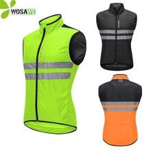 цена WOSAWE Cycling Jackets Men Sleeveless Tight Coat High Visibility Reflective Top Cycle Clothing MTB Bike Bicycle Windbreaker
