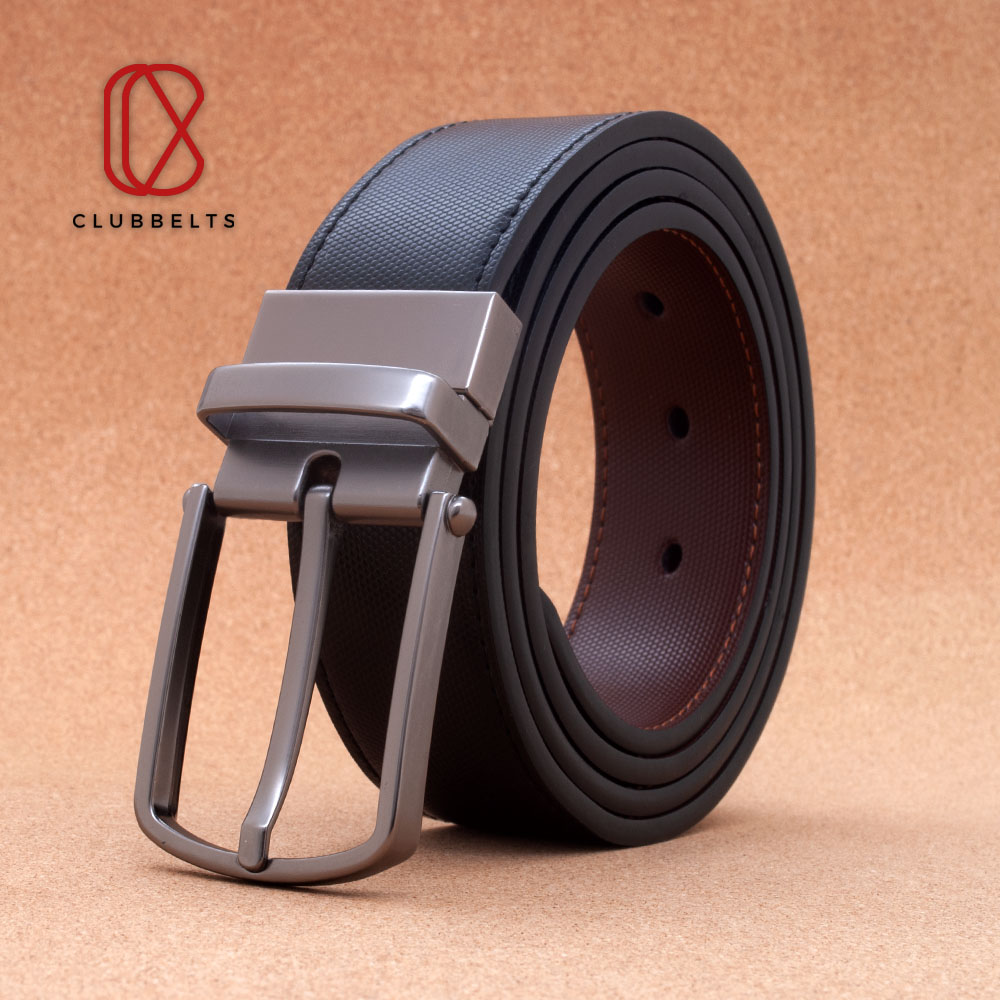 Clubbelts Men's Leather Reversible Belt With Gray Single Prong Buckle, Dress Casual Belt For Mens