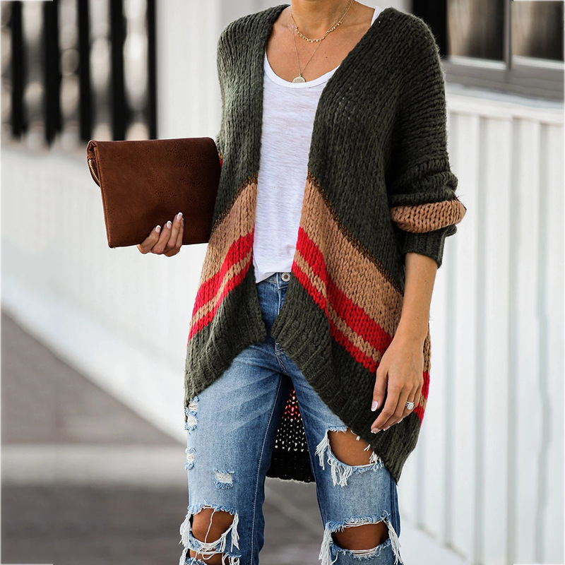Autumn Woman Knitted Coat Oversized Patchwork Sweater