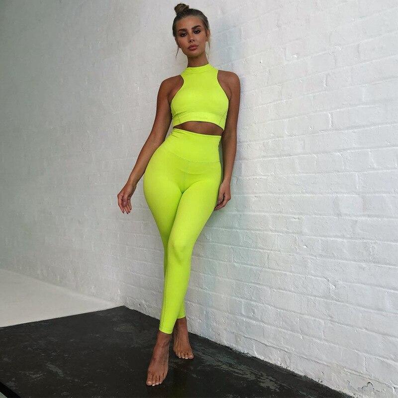 Неоновый зеленый/черный/розовый Джоггеры для женщин комплект женский укороченный топ на бретелях + длинные штаны; Комплект из 2 предметов; К...