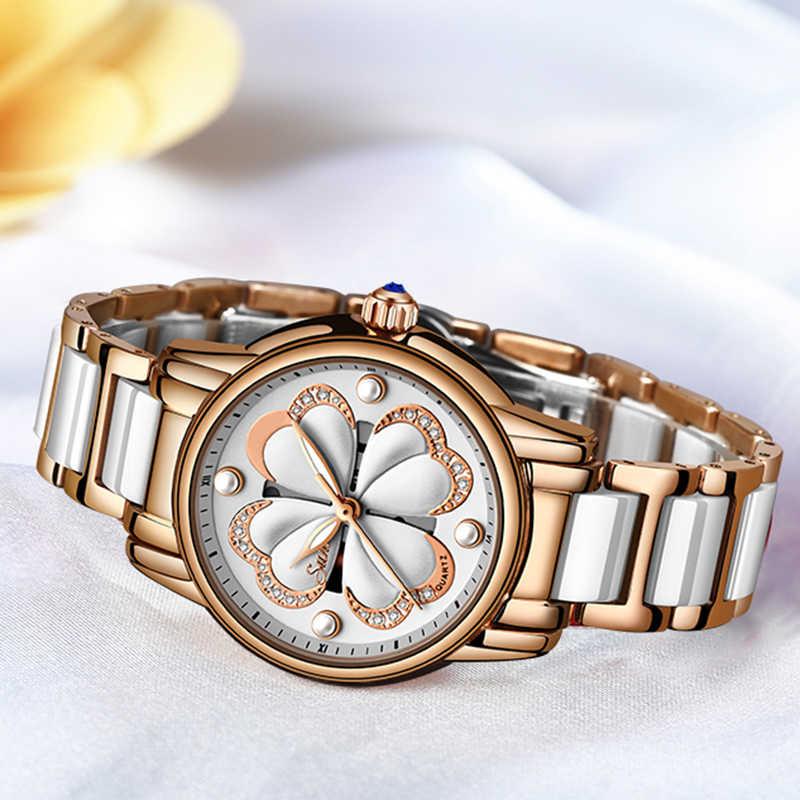 SUNKTA New Top Brand Luxury Waterproof Women Watches Fashion Simple Ceramic Quartz Watch Women Dress Clock Relogio Feminino+Box