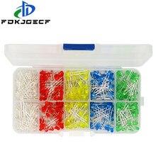 5 cores x100pces = 500 pces 3mm diodo led kit cor misturada vermelho verde amarelo azul branco + caixa kit diy