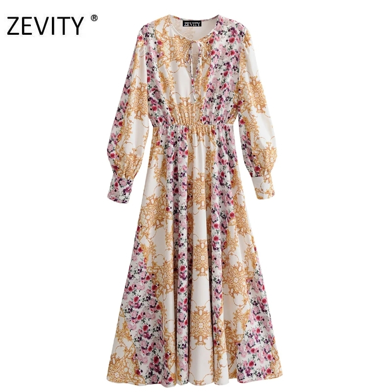 Zevity New women vintage court flower printing casual long dress chic female long sleeve bow tied vestidos party dresses DS4162