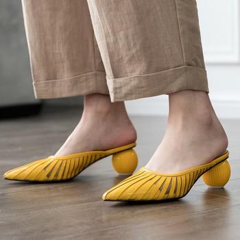 Doratasia 2020 Wholesale Big Size 43 Brand Design Women Shoes Summer Genuine Leather Round Heels Mules Pumps Woman