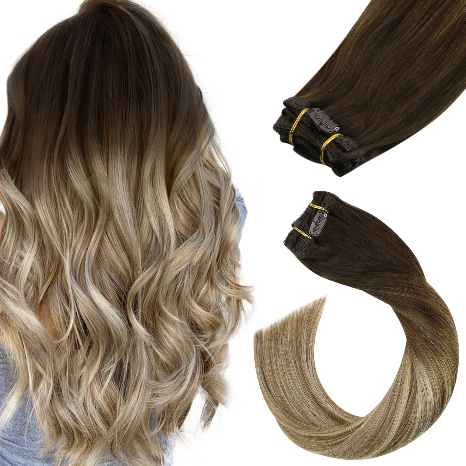 Human-Hair-Extensions Clip-In Ugeat Dark-Roots Double-Weft Balayage-Color 120g/7pcs 3/8/22